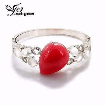 44ct Cabochon Shape Argentina Rhodochrosite Moonstone Bangles Solid 925 Sterling Silver Luxury Women Jewelry Fabulous Vintage