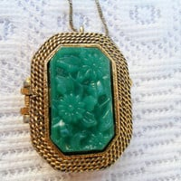 Vintage Mary Chess Perfume Locket Necklace -Green Jade Like
