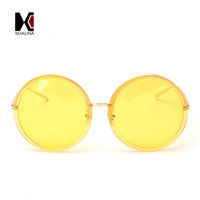 SHAUNA Oversized Fashion Women Round Sunglasses Brand Designer Big Frame Ladies Reflective Yellow Tint Lens Sun Glasses