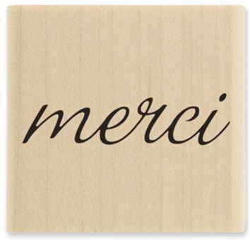 "Merci Stamp, 1"" x 1/2""  Wood Block Rubber Stamp, Scrapbooking Stamp, Card Making Stamp,"