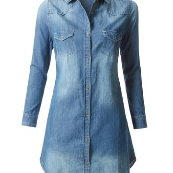 Classic Long Sleeve Chambray Denim Shirt Dress with Pockets