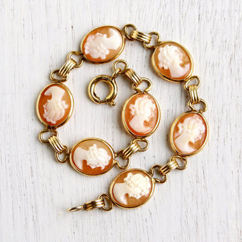 Vintage Cameo Bracelet - 12K Yellow Gold Filled Oval Shell Victorian Revival Signed Admark Link Jewelry / Carved Elegance