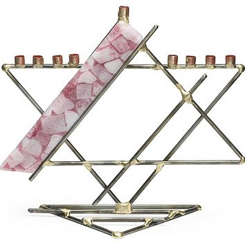 Glass Ribbon Breast Cancer Awareness Star Menorah By Gary Rosenthal In Pink,multi-Colored,silver Size: 10X5X11