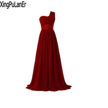 XingPuLanEr robe de soiree A Line One Shoulder Red Purple Black Blue Chiffon Cheap Price Instock Long Evening Dresses
