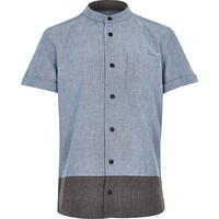 River Island Boys blue color block grandad shirt