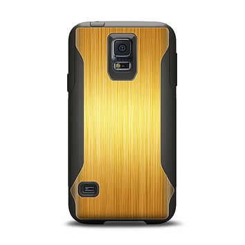 The Bright Brushed Gold Surface Samsung Galaxy S5 Otterbox Commuter Case Skin Set