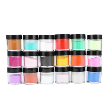 Nail Art Glitter Powder Shimmer Decoration Fine Dust UV Gel Shining Crafts in 18 Colors with Pots Tiny Bottles
