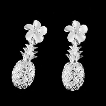STERLING SILVER 925 HAWAIIAN PLUMERIA FLOWER DANGLE PINEAPPLE POST EARRINGS CZ