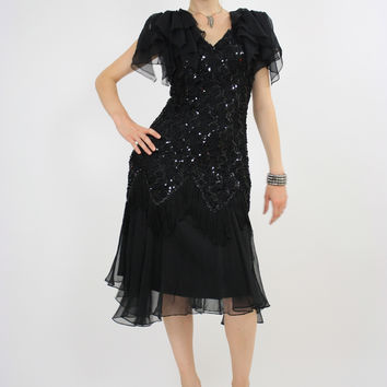 Vintage 80s sequin beaded  cocktail party dress