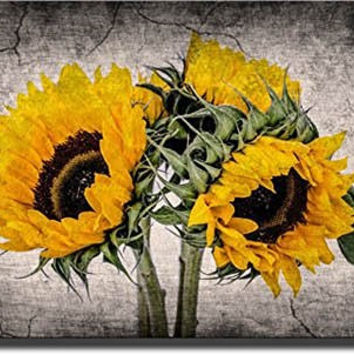 Sunflower Picture Made on Stretched Canvas, Wall Art Decor Ready to Hang.