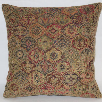 "Red Blue Gold Chenille Tapestry Pillow, 17"" Sq, Ogee Medallion, Carpet Style, Cover Only or Insert Included, Ready Ship"