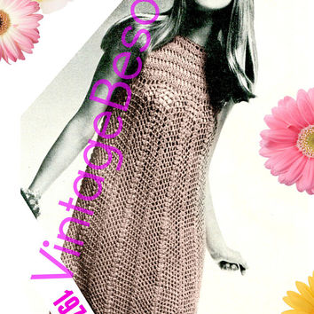 DRESS CROCHET Pattern • Instant Download • PDF Pattern • Retro 1970s • Ladies Summer wear • Party Dress • Women •