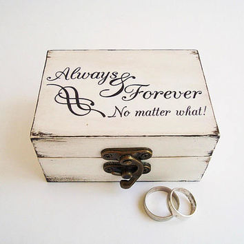 Forever Always box, Wedding rings box, Ring box pillow, White small box, Two ring box, Primitive wedding, Primitive ring box, No matter what