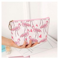 Women Travel Animal Flamingo Cosmetic Bag Fashion Beauty Zipper Make Up Bag Makeup Case Pouch Toiletry Organizer Holder Wash Bag