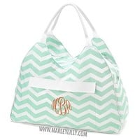 Monogrammed Mint Chevron Beach Bag | Custom Beach Gifts | Marley Lilly
