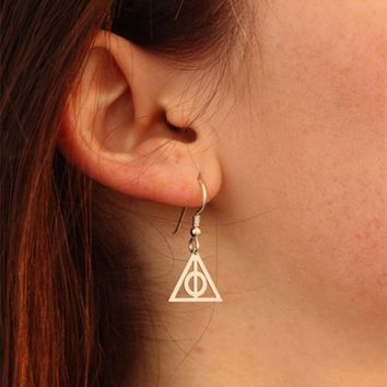 Hot Selling Deathly Hallows Potter Earrings Dangle Charm Silver Hogwarts Earrings Harry Mothers Day Gift for women wedding gifts