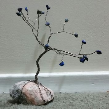 Stone Wire Tree Sculpture