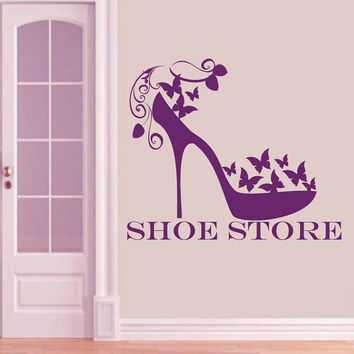 Wall Decals Vinyl Sticker Decal  Shoe Store Shop Women's  Fashion Shoes Style Interior for Shoe Shopping Butterfly Home Decor ML107