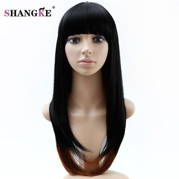 SHANGKE Long Ombre Colorful Wigs For African Americans Heat Resistant Synthetic Wigs For Black White Women Natural Fake Hair