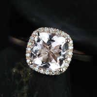 Roxie 8mm 14kt Rose Gold Cushion Morganite and Diamonds Halo Engagement Ring (Other metals and stone options available)