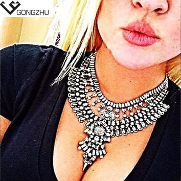 2016 Hot New Fashion Vintage Necklaces & Pendants Big Collar Necklace Gold Necklace Crystal Jewelry Statement Necklace anime