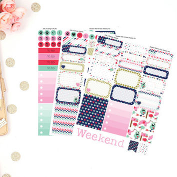 Erin Condren Sealed With A Kiss Valentine Weekly Kit Planner Stickers! Perfect For Erin Condren Life Planner,Happy Planner, Calendar!