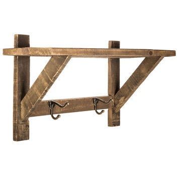 Natural Wood Wall Shelf with Metal Hooks | Hobby Lobby