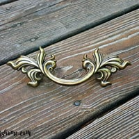 Vintage KBC French Provincial Drawer Pulls in Dark Brass by MagicalBeansHome.com