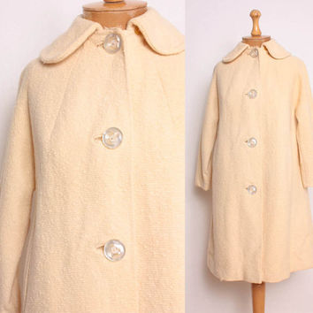 Vintage 1960s Cream Wool Swing Coat by pineapplemint on Etsy