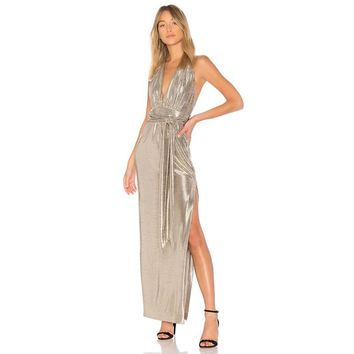 Fashion slim sexy party solid color backless  woman's Casual halter long slits dress