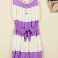 Color Stripes Slim Sleeveless Vest Chiffon Dress