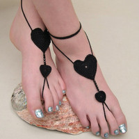 Black Barefoot sandals - Crocheted Heart Anklet - Foot Jewelry - Beach Wedding - Soleless - Bridesmaid accessory