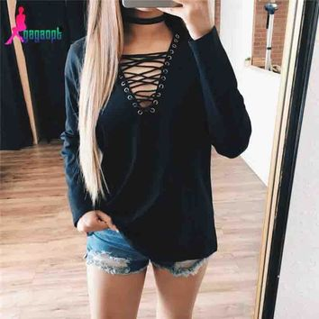 Black Hoodies Tops Pullover Hollow Out Deep V Long Sleeve Women's Fashion T-shirts