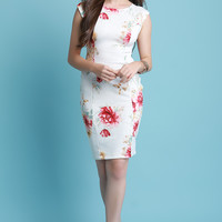 Floral Print Cap Sleeve Fitted Midi Dress