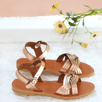 Leather sandals, Luxury greek sandals in rose gold leather, Women's shoes