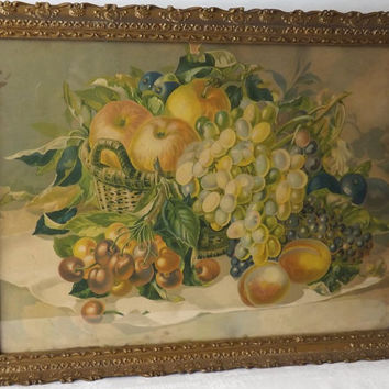 Antique Still Life Basket of Fruit Color Lithograph in Gesso Wood Frame, Vintage Art Print
