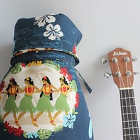 Ukulele case bag (Concert Size) / hula girl navy / made in Japan