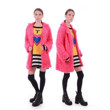 90s Vintage Pink Cardigan Sweater Shaggy Faux Fur Long Swing Jacket Coat Plush Club Kid Raver Clothing Women Size Medium / Large