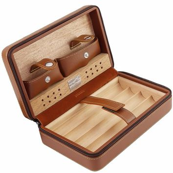 Humidor Storage Box Travel Cigar Case Box Holder Leather and Cedar Wood Cigar Humidor Kit Humidifier Accessories Without Lighter