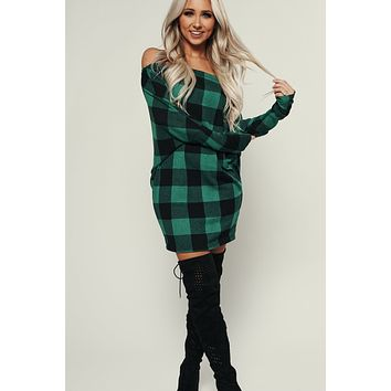 Look At The Lights Plaid Tunic Top (Green)