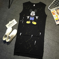 Sleeveless Mickey Mouse Print  Stitched Kangaroo Pocket Loose T-Shirt