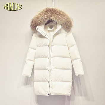 Women winter jacket 2017 Fashion Hooded Fur collars White duck down jacket High quality Korean style female down coats WKM338