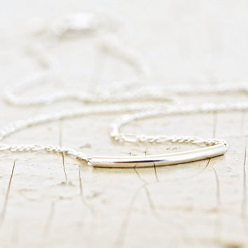 Silver Tube Hammock Necklace - Sterling Silver Chain - Simple Jewelry - Everyday Wearable - Boho Chic
