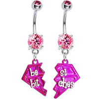 Pink Diamond Best Bitches Belly Ring Set of Two | Body Candy Body Jewelry