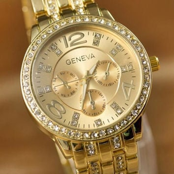 Threeeye Diamondinlaid Wristwatch Goldwatchwomen Watch Women Watches Quartzwatchesfemale Genevawomenjellywristwatch Fashion Steel Watch = 5987828609