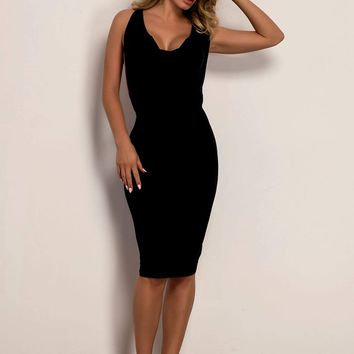Lace Up Backless Draped Bodycon Dress