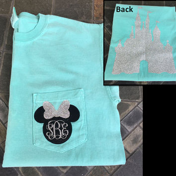 Minnie Mouse Glitter Monogram Comfort Colors T-Shirt // Monogram Disney Shirt // Personalized Disney Vacation Glitter Shirts