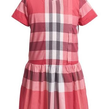 Girl's Burberry 'Neive' Check Print Dress,