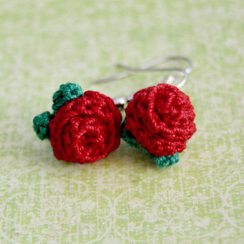 Red Flower Crochet Rose Earrings, Floral Nature, Womens Teen Kids Spring Summer Jewelry, Wife Girlfriend Mom Sister Daughter Friend Gift