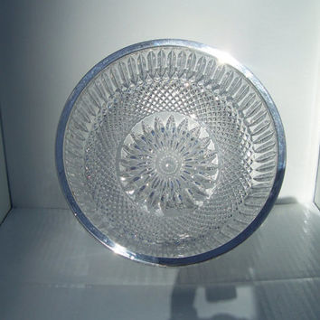 Vintage Cut Crystal Salad or Fruit Bowl with Silver Plated Edge.